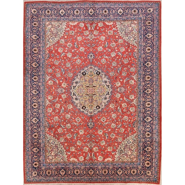 """Floral Medallion Sarouk Hand Knotted Vintage Persian Large Area Rug - 12'10"""" x 9'8"""""""