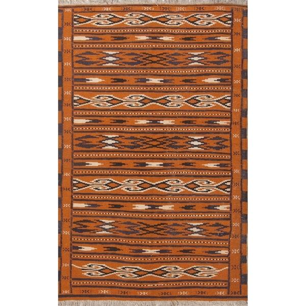 "Oriental Flat-Woven Rust Kilim Balouch Hand Woven Persian Area Rug - 6'0"" x 3'9"""
