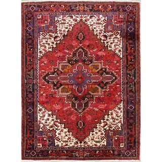 "Hand Knotted Woolen Geometric Heriz Tribal Persian Area Rug Carpet - 11'2"" x 8'5"""