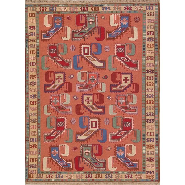 "Handmade Geometric Paisley Kilim Shiraz Persian Area Rug Carpet - 6'9"" x 4'11"""