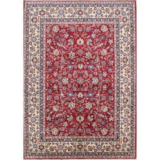 "All-Over Floral Isfahan Hand Knotted Wool Vintage Persian Area Rug - 13'5"" x 9'9"""