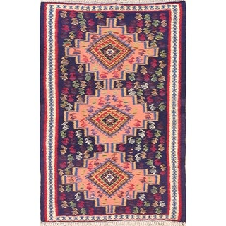 "Geometric Tribal Animals Bidjar Kilim Hand Woven Persian Area Rug - 4'11"" x 3'3"""