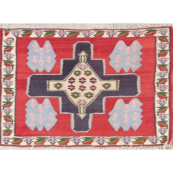 "Oriental Kilim Sanandaj Bidjar Hand Woven Wool Persian Area Rug - 2'0"" x 2'11"""