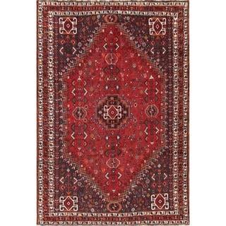 "Antique Handmade Wool Tribal Red Qashqai Shiraz Persian Area Rug - 10'0"" x 7'2"""