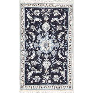 """Hand Knotted Wool Navy Blue Floral Nain Persian Area Rug - 4'8"""" x 2'10"""""""
