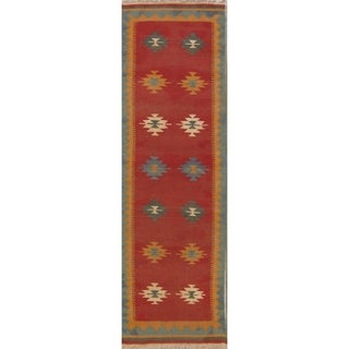 "Oriental Kilim Shiraz Hand Woven Wool Persian Carpet Rug - 9'10"" x 2'11"" runner"