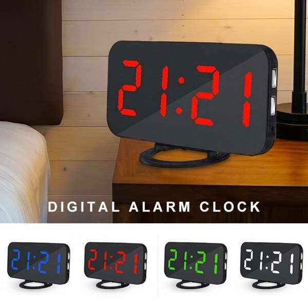 Digital Alarm Clock Stylish LED Clock with 2 USB Ports Huge Display Brightness Adjustment. Opens flyout.
