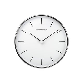 BERING Round Silver And White Wallclock 6.38-Inch