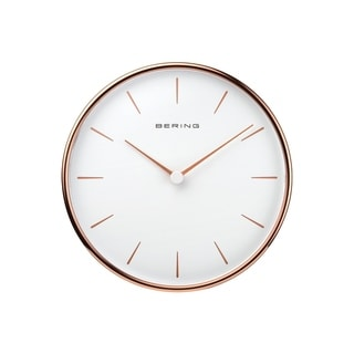 BERING Round Rose Gold And White Wallclock 6.38-Inch