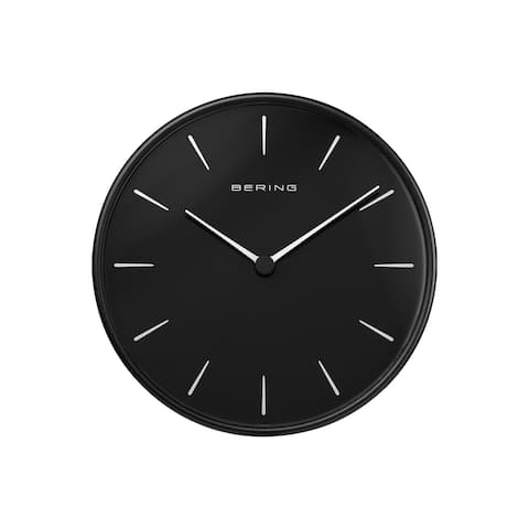 BERING Round Black And Black Wallclock 6.38-Inch