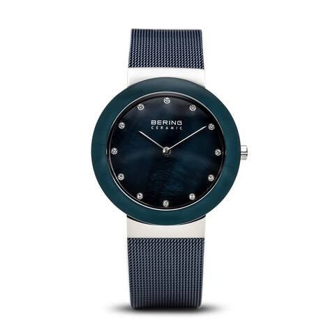 BERING Ceramic Slim Watch With Sapphire Crystal & Blue Stainless Steel Strap