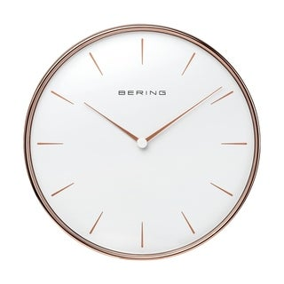 BERING Round Rose Gold & White Wallclock 11.49-Inch