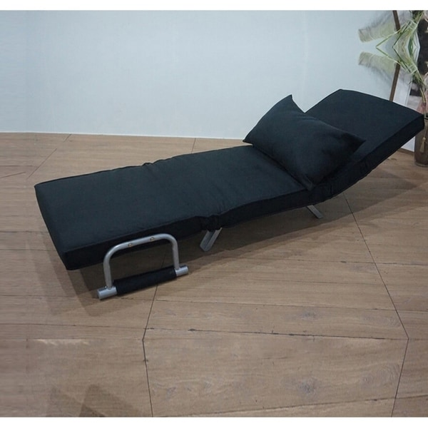Foldable Dual Purpose Single Black Sofa Chair With Dust Cover Lounge Bed