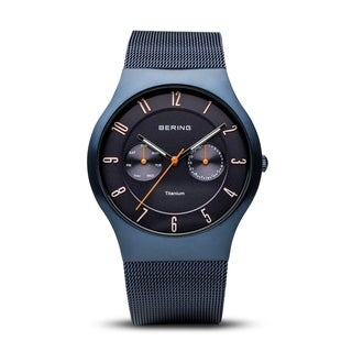 BERING Titanium Slim Watch With Sapphire Crystal & Blue Stainless Steel Strap