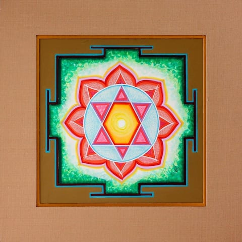 Handmade Ganesha Yantra Painting (India) - Yellow