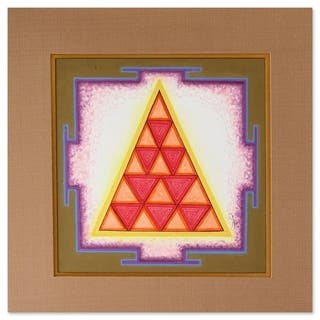 Handmade Bhauma Mangala Yantra Painting (India) - Pink/Multi-color/Red