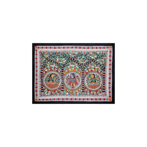 Handmade Benevolent Krishna Madhubani Painting (India) - Multi-color