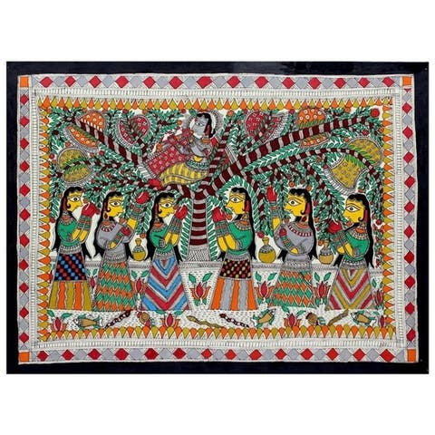 Handmade Krishna Charms Gopies Madhubani Painting (India) - Multi-color