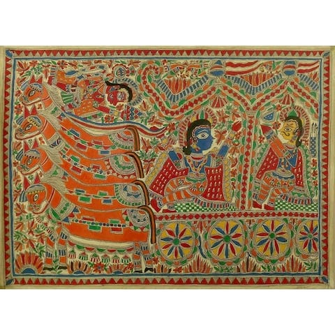 Handmade Krishna And Arjun Madhubani Painting (India) - primary or jewel colors