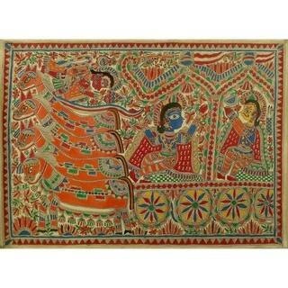 Handmade Krishna And Arjun Madhubani Painting (India) - primary or jewel colors