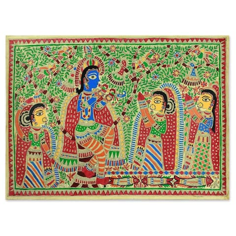 Handmade Radha and Krishna Rejoice Madhubani Painting (India)