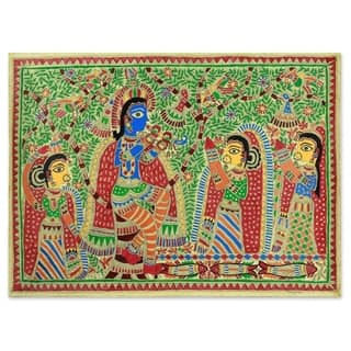 Handmade Radha And Krishna Rejoice Madhubani Painting (India) - Multi-color