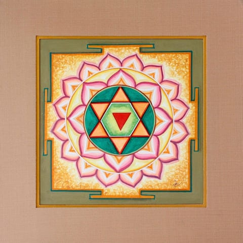 Handmade Baglamukhi Yantra Painting (India) - Pink/Multi-color/Red