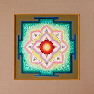 Handmade Kameshi Yantra Painting (India) - Pink/Multi-color/Red
