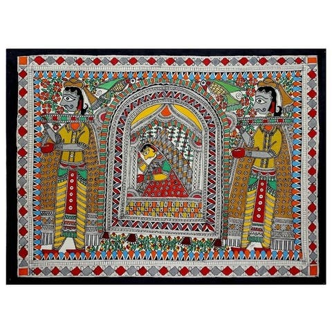 Handmade Bridal Procession Madhubani Painting (India)