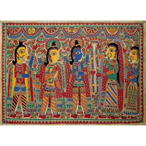 Handmade Rama And Sita Wed Madhubani Painting (India) - Multi-color