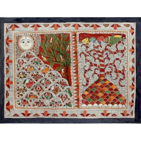 Handmade Harmonious Coexistence Madhubani Painting (India) - primary or jewel colors