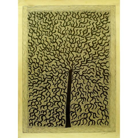 Handmade Tree Of Life Ii Madhubani Painting (India) - Yellow