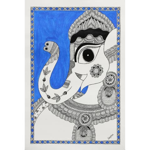 Handmade Magnificent Ganesha Ii Madhubani Painting (India) - Blue/Multi-color