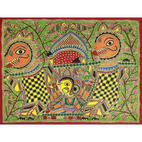 Handmade Durgas Marriage Madhubani Painting (India) - Green/Multi-color