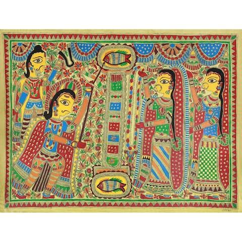Handmade Arjuna And Draupadi Marry Madhubani Painting (India) - Multi-color