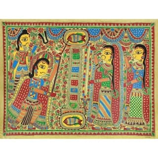 Handmade Arjuna And Draupadi Marry Madhubani Painting (India) - Multi-color