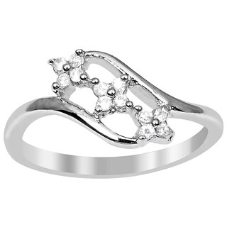 Essence Jewelry Cubic Zirconia 925 Sterling Silver 3 Stone Ring