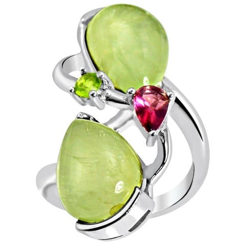 Prehnite, Rhodolite, Peridot Sterling Silver Pear Promise Ring by Essence Jewelry