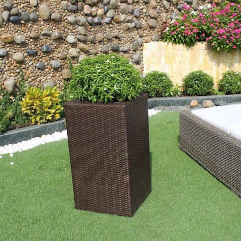 Sunjoy Wicker Square High Planter