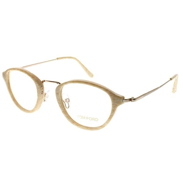 271ec14a706 Shop Tom Ford Round FT 5321 060 Unisex Beige Horn Frame Eyeglasses ...