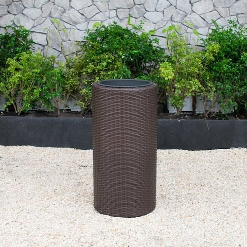Sunjoy Wicker Round Planter