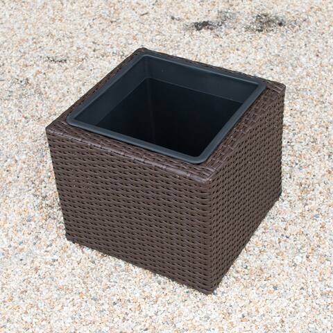 Sunjoy Wicker Outdoor Planter Square
