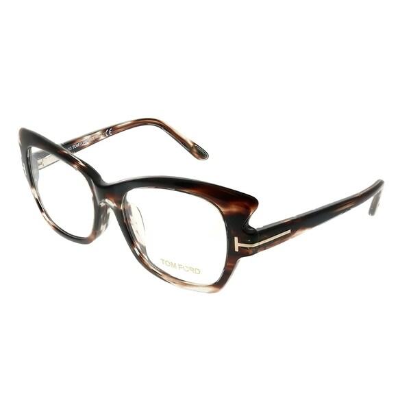 09a406aa882 Shop Tom Ford Cat-Eye FT 4268 050 Women Brown Horn Frame Eyeglasses ...