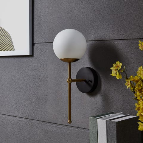Copper Grove Krume Gold Metal White Glass Globe Wall Sconce