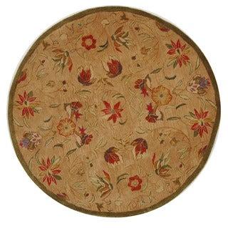 Safavieh Handmade Anatolia Oriental Traditional Beige Hand-spun Wool Rug (4' Round)
