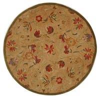 Safavieh Handmade Anatolia Oriental Traditional Beige Hand-spun Wool Rug - 4' Round