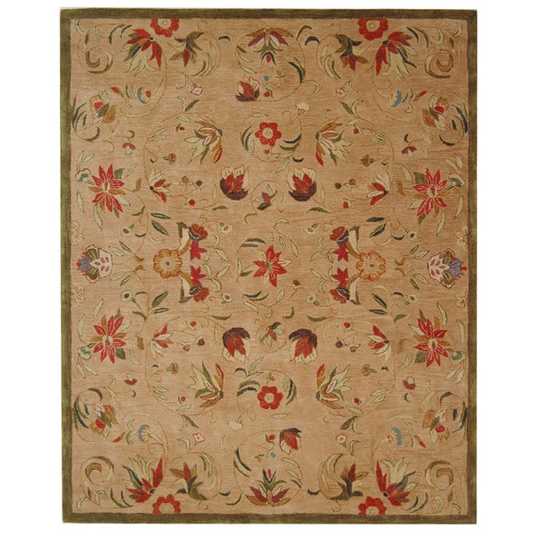 Safavieh Handmade Anatolia Oriental Beige Hand-spun Wool Rug (5' x 8')