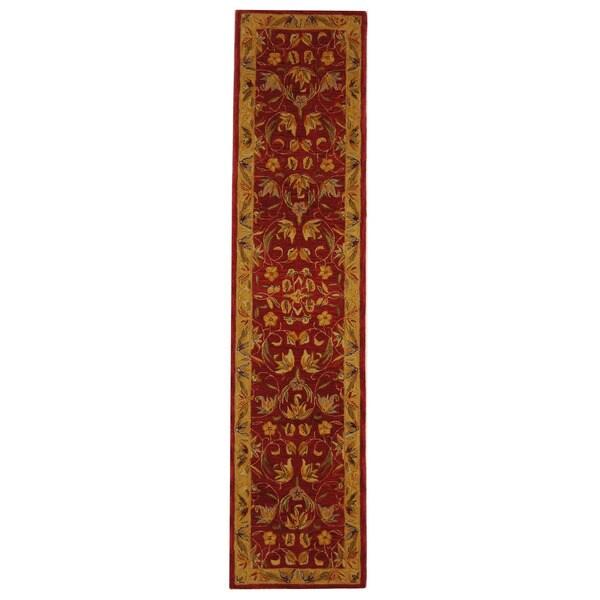 Safavieh Handmade Hereditary Burgundy/ Gold Wool Runner (2'3 x 10')