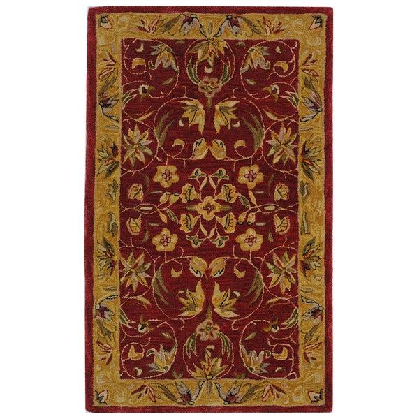 Safavieh Handmade Anatolia Oriental Burgundy/ Gold Hand-spun Wool Rug (3' x 5')