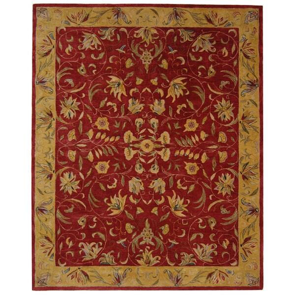 Safavieh Handmade Hereditary Burgundy/ Gold Wool Rug (6' x 9')